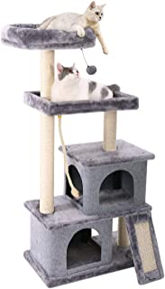 PAWZ Road Cat Tree Multilevel and Luxury Cat Towers 50 Inches with 2 Condos, Spacious Perches, Scratching Post, Dangling Balls and Ramp - coolthings.us