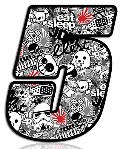 Biomar Labs® Startnummer Nummern Auto Moto Vinyl Aufkleber Sticker Bomb Stickerbomb Weiß Motorrad Motocross Motorsport Racing Nummer Tuning 5, N 345