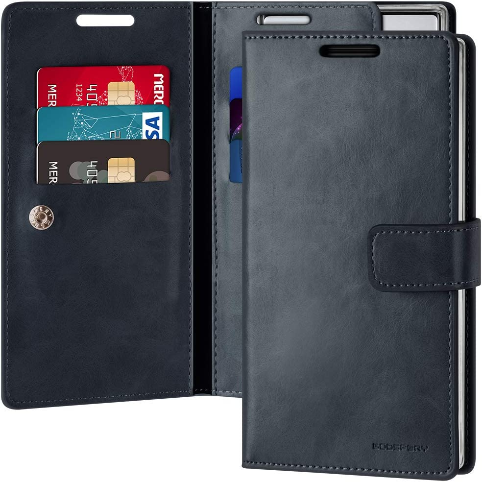 Goospery Mansoor Wallet for Samsung Galaxy Note 10 Case (2019) Double Sided Card Holder Flip Cover (Navy) NT10-MAN-NVY