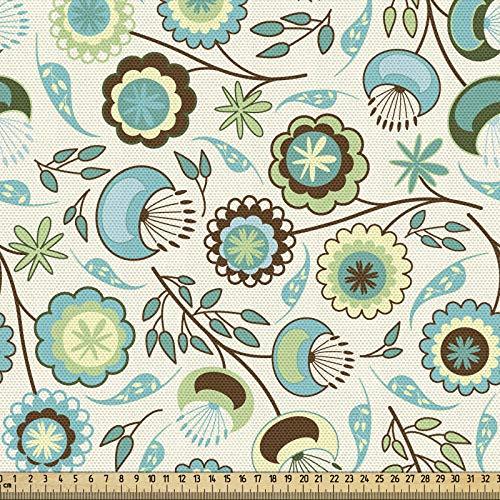 ABAKUHAUS Floral Tela por Metro, Pastel Artístico Naturaleza, Decorativa para Tapicería y Textiles del Hogar, 1M (148x100cm), Menta Verde Cielo Azul Beige