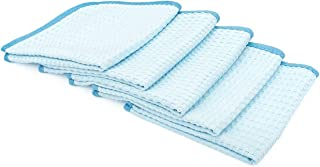 The Rag Company (5-Pack) 16 in. x 16 in. Premium South Korean 70/30 Blend 400gsm Waffle-Weave Microfiber Detailing and Drying Towels