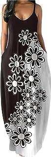 Women Spaghetti Strap Dress Summer Beach Boho Dresses Floral Print V Neck Maxi Sundress for Women Long Sleeveless Skirt