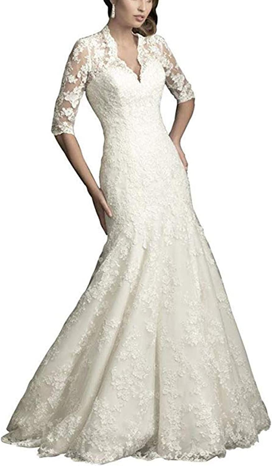 Women's VNeck Mermaid Lace Wedding Dresses for Bride 1 2 Sleeves Church Garden Princess Bridal Dresses Train