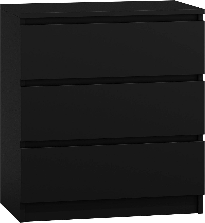 Kommode mit 3 Schubladen Malwa M3 Sideboard Mehrzweckschrank Diele Wohnzimmer Anrichte Schwarz Esszimmer Highboard Flur