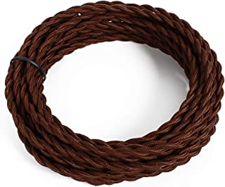 25ft Fabric Cloth Covered Lamp Twisted Wire,PRUNLLA Vintage 18/2 Industrial Electrical Cord,18-Gauge Antique Style for Retro Lamp,DIY Projects (Brown)