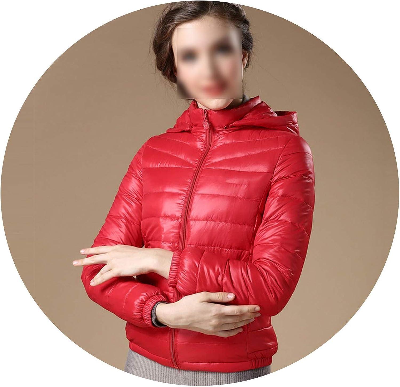 FantasticJourney Women 90% White Duck Down Jacket Women's Hooded Light Down Jackets Warm Winter Coat