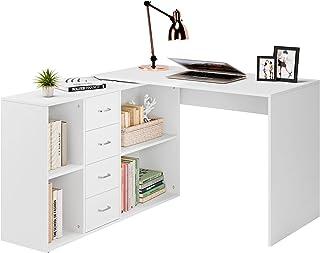 Homfa Bibliothèques Bureau Table d'ordinateur en L Table d'étude Blanc avec 4 Tiroirs 4 Compartiments 126x115x75,5 cm