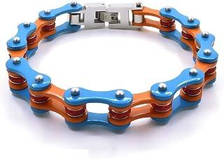 Braccialetto catena moto in acciaio inox bracciale da uomo e da donna arancio e azzurro con shopper e custodia in omaggio ...