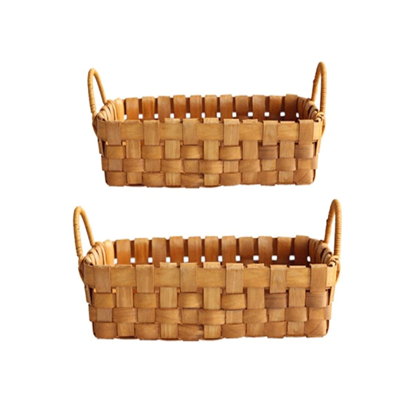 デッド記憶に残る戸棚JJESC 手作りの丸太、大容量の編みバスケット、バイノーラルフルーツバスケット、パンバスケット、収納バスケット、2個セット、大/小 竹織り、 (Color : C)