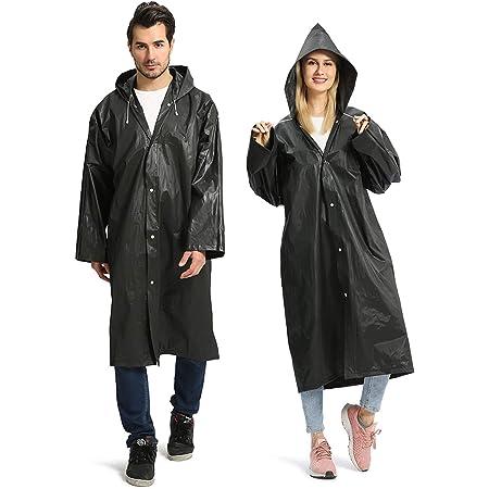Opret Raincoats for Adults, Reusable Waterproof Rain Poncho Emergency Rain Coat with Hood and Sleeves, Lightweight EVA Rainwear, 2 Pack