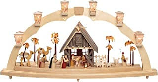 Richard Glässer Seiffen German Candle Arch, Nativity Scene, Length 80 cm / 31 inch, Natural, electrically Illuminated, Ori...