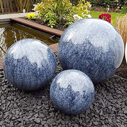 garten-wohnambiente Dekokugel 3er Set 15-10-10 cm Edelstahl Marmor blau Kugel Dekorationskugel