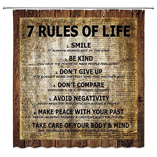 Quotes - Cortina de ducha con 7 reglas de la vida, diseño de periódicos antiguos, color negro y marrón