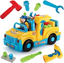 AM ANNA Multifunctional Take Apart Toy Tool Truck With Electric Drill and Power Tools, Lights and Music, Bump and Go Action