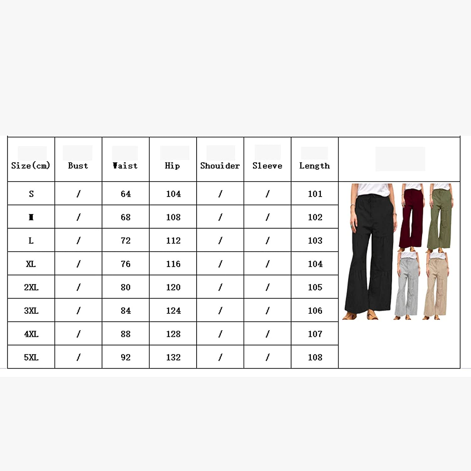 GUOQUN-SHOP Women's Linen Pants Drawstring Elastic Waist Pants Casual Loose Fit Comfy Lounge Pants with Pockets Trousers (Color : Grey, Size : Small)