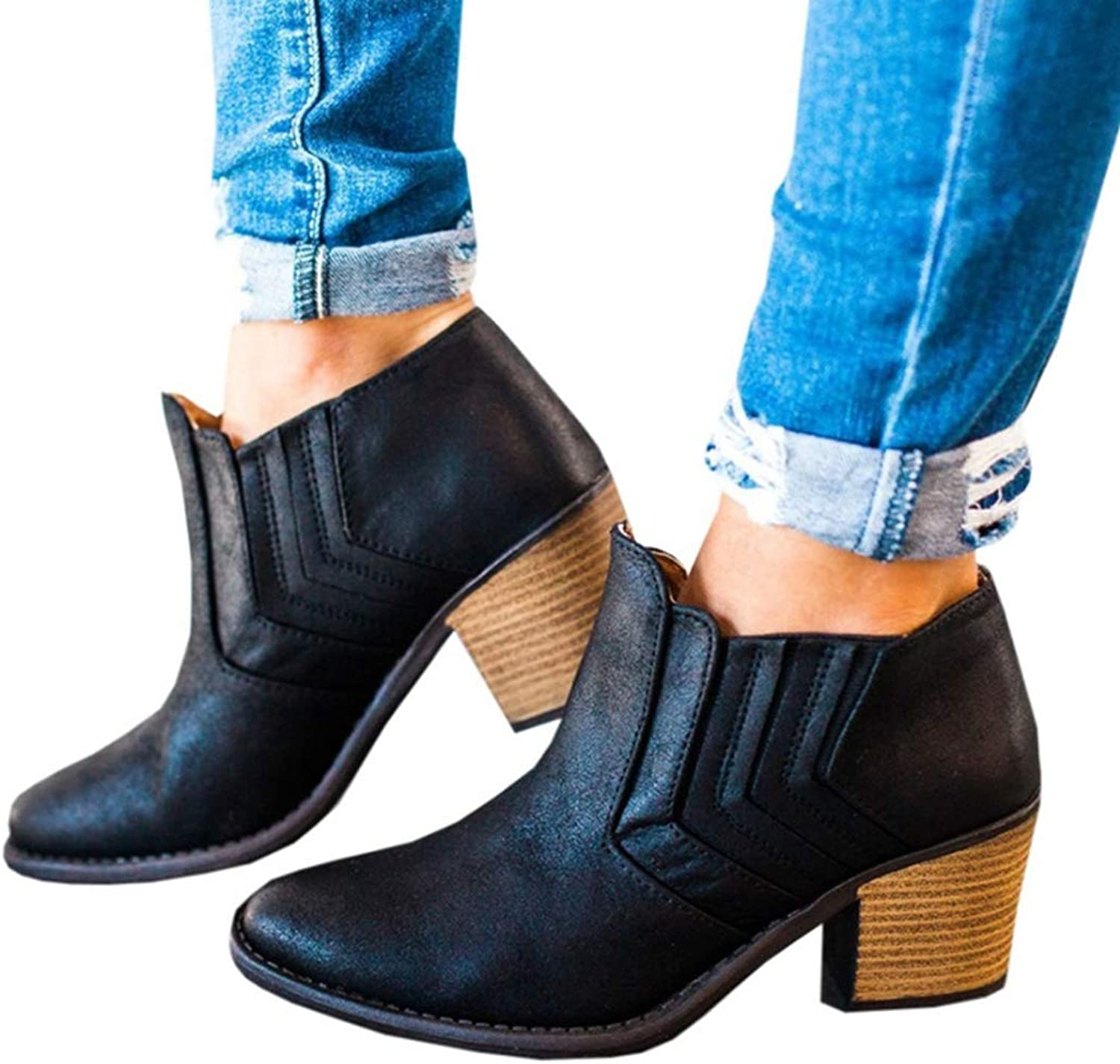 Suede Leather Ankle Boots for Woman Squared Chunky Heel Booties Slip-on Sewing Short Boots, Plus Size