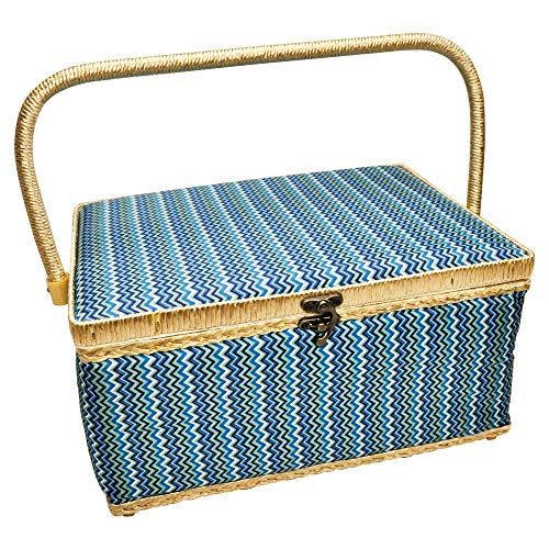 Sullivans Folding Sewing Basket 9' x 12' x 6.5' - Chevron, Blue with Clear Lift-Out Tray, Interior Pin-Holder and Pocket