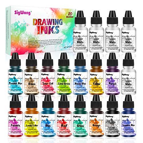 Alcohol Ink Set - 20 Colori Vivaci ad Alta concentrazione di Inchiostro a Base di Alcol per la Fabbricazione di Capsule di Petri in Resina, Pittura con Resina epossidica (20 × 10 ml)