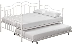 DHP Tokyo Daybed and Trundle with Metal Frame, Full Over Twin Size, White