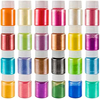 Mica Powder Pigment 24 Color,Non-Toxic Safe Natural Epoxy Resin Dye Pigment Powder for DIY Slime Coloring and Soap Dye Mak...
