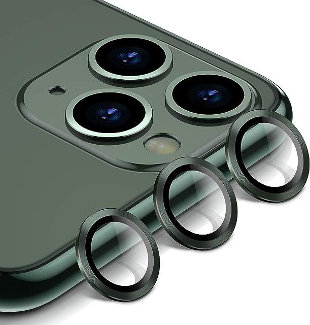 BANNIO Protector Cámara para iPhone 11 Pro/iPhone 11 Pro MAX3 en 1 HD Film Vidrio Cristal Templado Cámara Trasera Lente Borde de Metálico para iPhone 11 Pro/iPhone 11 Pro MAX - Verde