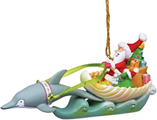 Cape Shore Coastal Santa in Sea Shell Sleigh Dolphin Reindeer Holiday Ornament