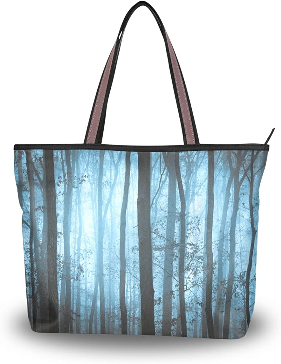 JSTEL Women Large Tote Top Handle Shoulder Bags Forest Night Tree Patern Ladies Handbag L