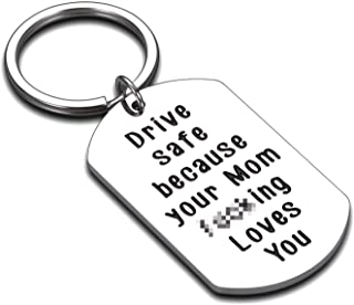 Drive Safe Keychain to Son Daughter New Driver Gift Sweet 16 Birthday Gifts for Boys Girls Adults from Mom Keychains for H...