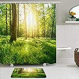 Juego de cortinas y tapetes de ducha de tela,Rayo Árboles Sombras Bosque Hierba Verano Energía Rayos de sol Sol Natura,cortinas de baño repelentes al agua con 12 ganchos, alfombras antideslizantes