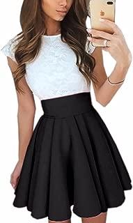 Imagine Women's Basic Solid Versatile Stretchy Flared Casual Mini Skater Skirt