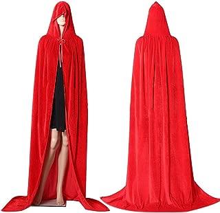JMSUN Halloween Cloak Christmas Costume COS Death Long Cloak Sorcerer Witch Prince Princess Cape Cloak Red