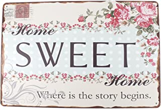 12×8 Inches Pub,bar,Home Wall Decor Souvenir Hanging Metal Tin Sign Plate Plaque (Sweet Home)