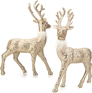 SANNO Reindeer Decorations Christmas Deer Decor Set of 2 Holiday Reindeer Figurines Standing Gold Champagne Glitter Festive Ornaments for Tabletop Kitchen Mantle Shelf Desk Office Winter Decor