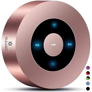 【防水ケース付属- 進化版】XLEADER SoundAngel 5W 高音質 Bluetooth スピーカー、ッチ操作、iPhone iPad タブレット シャワー ギフト用プレミアム ミニポータブル ブルートゥース スピーカー、ローズゴールド