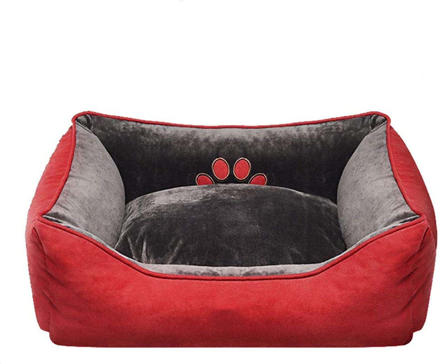 FASKT Pet Bed, Cuddly Pet Bed with Durable Fabrics for Small Medium Dog Cat Plush Rectangle Nest Puppy Sleeping Bag Cushion (Size   M 65  55  19cm)
