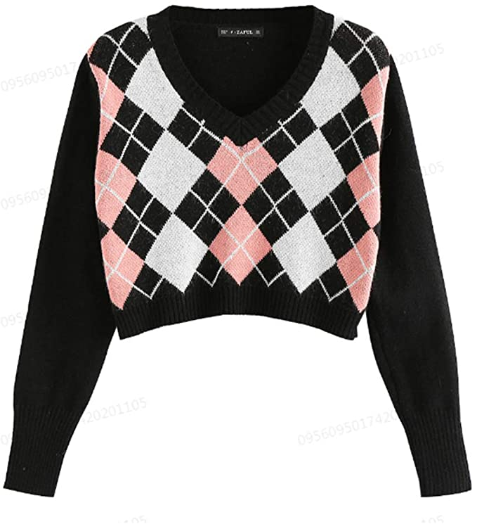 Vintage Sweaters, Retro Sweaters & Cardigan ZAFUL Womens Long Sleeve V-Neck Argyle Knitted Crop Sweater Pullover Tops  AT vintagedancer.com