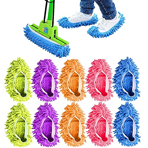 cnstorm 10 Pieces Mop Slippers for Floor Cleaning, Washable Reusable Shoes Cover, Microfiber Dust Mops Mop Socks for Women Men Foot Dust Hair Cleaners Sweeping House Office Bathroom Kitchen