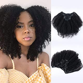 SixStarHair 12inch 7 Pieces per Pack 3C 4A Afro Curly Clip In Hair Extensions For African American Women Thick Human Hair Clip In Extensions Natural Black Grade 8A Remy Human Hair 120g