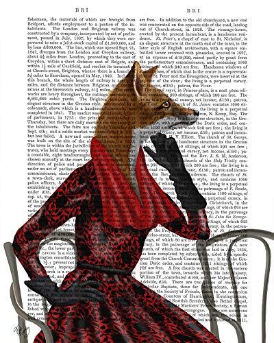 WANDAFBEELDING-op-CANVAS-Fox-met-rode-sjaal-FabFunky-grillig-Print-op-canvas-op-houten-frame-voor-wanddecoratie-Afbeelding-gedruckt-op-ingelijst-canvas-100-Afmeting-48_X_38_cm