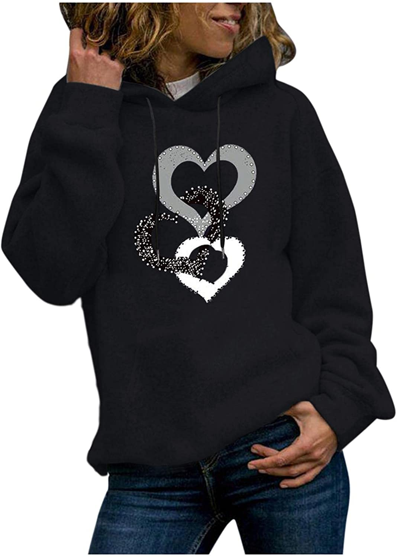 Masbird Hoodies for Women, Womens Long Sleeve Heart Printed Fall Hoodies Teen Girls Anime Cute Black Hoodies with Pocket