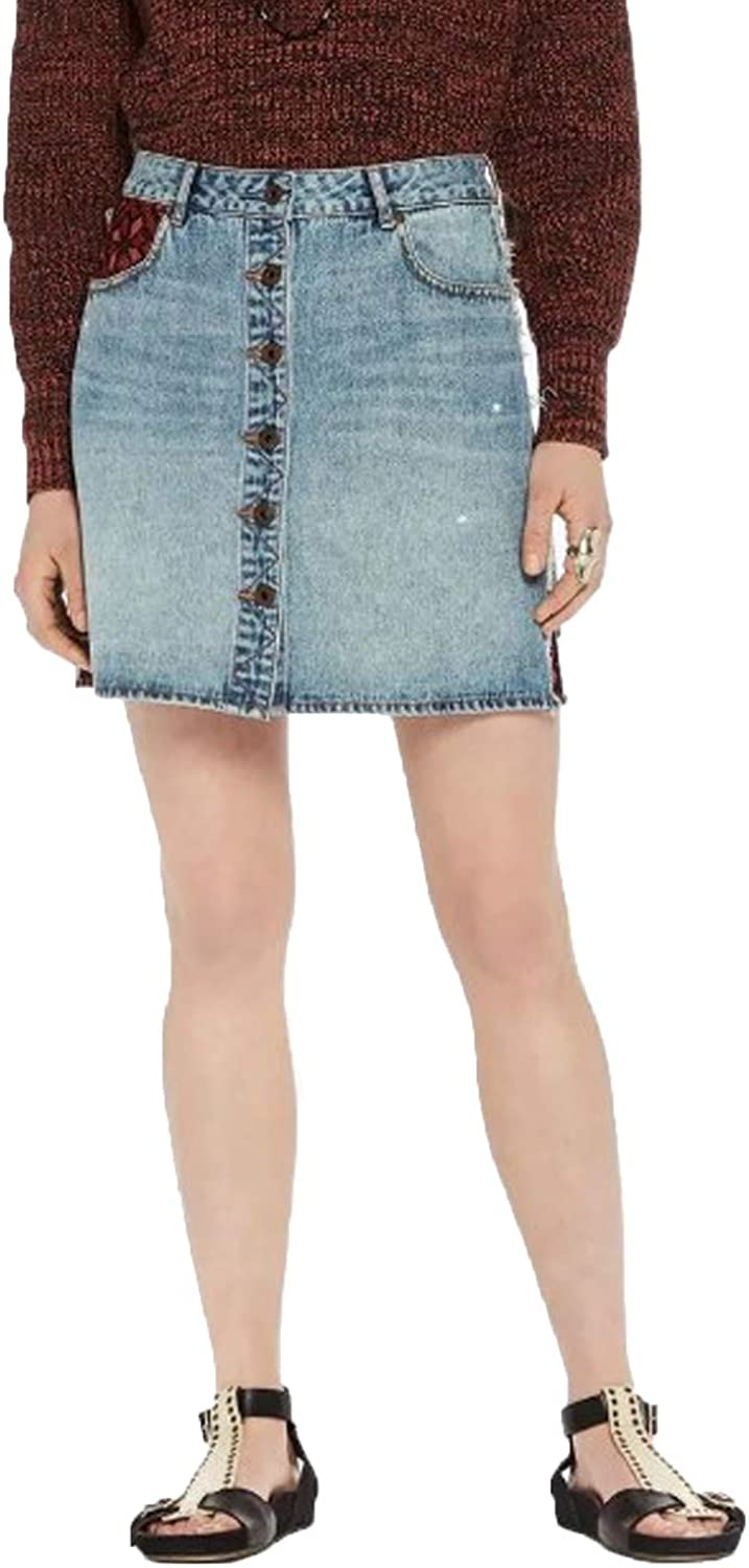 Scotch & Soda Womens Button Up Denim Skirt bluee Extra Small, Small, Medium, Extra Large