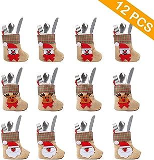 OurWarm 12PCS 3D Bulk Mini Christmas Stockings, Santa Snowman Reindeer Burlap Silverware Holders Tableware Bags for Rustic Christmas Decorations