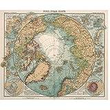 A&D Karte der Arktis Drucke Leinwand Poster Vintage Cafe
