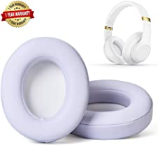 Professional Replacement Ear Pads for Beats Studio/Compatible with Studio Wired B0500 / Wireless B0501 / Studio 2 and Studio 3/Soft Protein Leather/Noise Isolation Memory Foam (White)