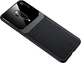 Case for OnePlus 7T Pro, PC & Leather & Plexiglass Protective Cover Shockproof Anti-drop Case for OnePlus 7T Pro (Black)