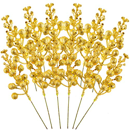 QUACOWW 12 Pieces Christmas Glitter Berries Stems 7.08 Inch Artificial Fruit Berry Picks Holly Berry Twig for Xmas Tree Ornament DIY Craft Christmas Wreath Garland Decoration(Gold)