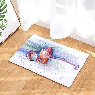 BIRSY Watercolor Flamingo Door Mat, Flannel Door Mat Entrance Carpet Indoor/Outdoor Door Shoe Scraper Entrance Passage 16x...