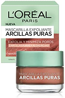 L'Oreal Paris Mascarilla Exfoliante, Arcillas Puras, 40 ml