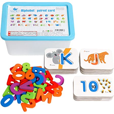 Educational Word Spell Learning Gift Letter and Numeric Matching Game for Preschool Boys and Girls Ancaixin Montessori Wooden Toys for 3-6 Years Old Kids with 50 Flash Cards
