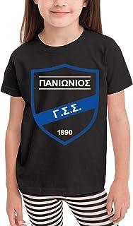 Cotton Panionios FC Greece Soccer Football Boys Girls T Shirts Teenager Comfort Tops Black